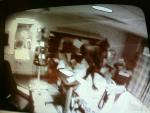 This unexplained picture is from a hospital security camera at a nurses station.