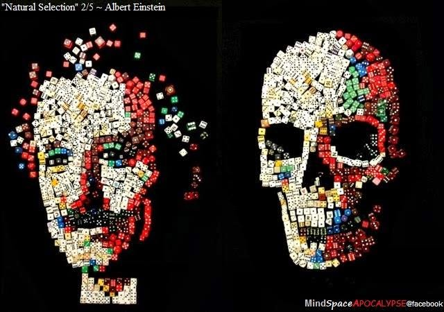 "The ""Natural Selection"" portrait series by Noah Scalin – specifically explores the lives of great scientists whose work has had an incredible impact on the world. Each diptych is made up of the portrait of a deceased scientist and a representation of his/her skull. The skull is made by literally rearranging the elements (the same pieces and same amount as the face) used in the portrait, thus destroying that original creation in the spirit of the traditional sand mandalas of Tibetan Buddhism. The scientists represented are all great thinkers whose creations had an impact on our lives today, but also serious repercussions for their own lives (and deaths). Inspired by the work of 16th century Italian painter Giuseppe Arcimboldo, the images are intentionally created at a scale that allows the faces/skulls and the objects that are used to make them to be visible at the same time, thus creating a visible vibration – an oscillation between form and symbol – in the viewers' minds."