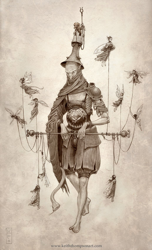 WARDEN: The Fey Folk, being barren, steal away human babies and raise them as their own, twisting them into fair forms. Often the fairies leave one of their own in the raided crib as a spiteful taunt to the oblivious parents. The Warden was a young fairy who took the place of a babe stolen from an old woodsman's house deep in the forest. He would twist his face hideously as the old man and woman tried to love and care for him. Mischievously, the fairy would break valuables, set fires, and make the animals ill. Still, the parents patiently raised him. This continuing love puzzled the Warden, and he slowly became accustomed to it, growing tall and healthy as a young man would from such compassion. He knew that he could never live as a man in the city, so he stayed with his new parents in their isolation until they eventually died, still thinking him their ugly, troubled son. In bitter grief, the warden took to the forest with the intent of returning the same sorrow the Fey doled out so generously. He now stalks through the forest, his size immense for a fairy from his humans' diet, and the nurturing of the old couple. He captures all Fey Folk he comes across and lets them slowly waste away, savouring their pleas as they cry out in a language he hardly remembers.  A young fairy with his wings clipped is chained to the turret in the Warden's hat, where he is forced to use his man-catcher to snag those flitting high in the trees. An adder lives in the warden's sleeve, darting out to bite enemies.