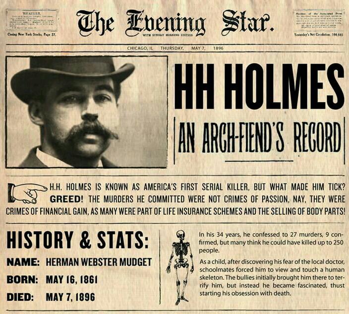 Х х холмс - первый американский серийный убийца